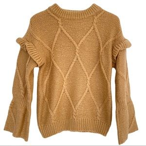 Main Strip Gold Ruffle and Bell Sleeve Sweater